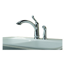 Delta - Linden Single Handle Kitchen Faucet with Side Spray and Diamond Seal Technology - Delta 4453-DST Linden Single Handle Kitchen Faucet with Side Spray and Diamond Seal Technology in Chrome. The majestic appearance of the Linden tree inspired the Linden kitchen faucet - a fresh design that will bring life to any kitchen.  The Linden Waterfall  pull-out blends that style with a high-arc spout that complements any current d퀌�cor.  All Linden pull-out faucets feature Multi-Flow?� Technology, which increases the stream to a higher flow for more quickly filling pots and vases.  The Linden Collection includes Delta's exclusive DIAMOND?� Seal Technology which uses a valve with a tough diamond coating to bring you a faucet built to last up to five million uses.  Plus, it keeps water inside the faucet out of contact with potential metal contaminants delivering a high level of durability and performance that can be trusted for years to come.Delta 4453-DST Linden Single Handle Kitchen Faucet with Side Spray and Diamond Seal Technology in Chrome, Features:Diamonds are the hardest substance known to man, and DIAMOND?� Seal Technology takes full advantage of this property. Delta's exclusive DIAMOND?� Seal Technology uses a valve with a tough diamond coating to bring you a faucet built to last up to 5 million uses � plus it keeps water inside the faucet out of contact with potential metal contaminants.