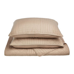 Williams Quilt Set - King - Taupe - The Williams Quilt Set features a geometric lines pattern and is available in four colors. This set is made of 100% cotton and includes (1) Quilt: 106x92 and (2) Pillowshams: 20x36 each.