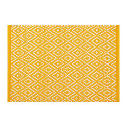 """Pine Cone Hill - PCH Diamond Canary Indoor/Outdoor Placemat Set of 4 - Discover casual table linens with high style in the Diamond Indoor/Outdoor placemats from PCH. Ideal for layering with other colors and patterns, their mod geometric print in a bright canary yellow and white lends a lively look to any meal. 14"""" x 20""""; Set of 4; 100% polypropylene; Designed by Pine Cone Hill, an Annie Selke company; Machine wash cold, tumble dry low; Do not bleach"""