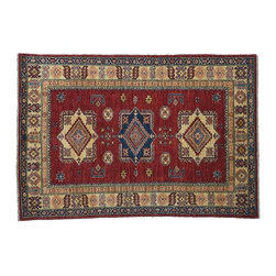 Rich Red Area Rug, 4'X6' High Quality Kazak Hand Knotted 100% Wool Rug SH7915 - This collections consists of well known classical southwestern designs like Kazaks, Serapis, Herizs, Mamluks, Kilims, and Bokaras. These tribal motifs are very popular down in the South and especially out west.