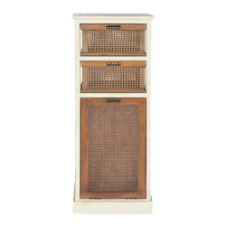 Safavieh - Chatham Storage Unit - This petit beauty packs a punch. The Chatham Storage unit seduces the eye with woven cane-inspired detail, but quickly warms the heart with three oversized storage cubbies inside its pine wood case. It is an instant organizer for a mudroom, kitchen or stylish office space.