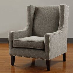 None - Biltmore Wing Chair - Add a welcome touch of decorative detail to any room in your home with this taupe, brown, and gray upholstered wingback chair with espresso-stained legs. This plush and padded seat arrives ready to use with no assembly required.