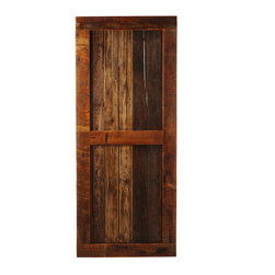 Big Sky Barn Doors - Bitter Root Door, Finished, 50x97 - The Bitter Root Door is our traditional ranch style barn door handcrafted from reclaimed Montana barnwood. Each Big Sky Barn Door is shipped completely assembled and ready to hang.     Due to the nature of antiqued reclaimed lumber, each door is unique in character and appearance.  Colors might vary slightly as well as wood grains, knots, nail holes, etc... Every door is handcrafted and inspected for quality assurance.    Hardware is not included.