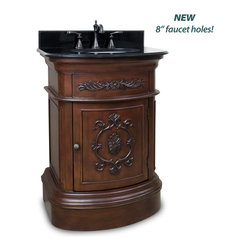 Hardware Resources - Emilia Bath Elements Vanity  26 x 21 x 35-3/4 - This 26 inch wide MDF vanity has timeless appeal with carved floral details  elegant curves and rich merlot finish. The compact size makes this vanity a perfect pedestal sink replacement. A large cabinet provides ample storage.  This vanity has a 2CM black granite top preassembled with an H8809WH (15 x 12) bowl  cut for 8 faucet spread  and corresponding 2CM x 4 tall backsplash.  Overall Measurements: 26 x 21 x 35 3/4 (measurements taken from the widest point) Finish: Painted Merlot Material: MDF Style: Traditional Coordinating Mirror(s): MIR031 Bowl: H8809WH