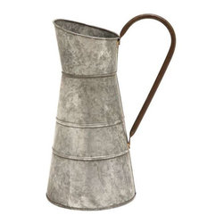 "Benzara - Galvanized Watering Jug with Classic Style Design - Galvanized Watering Jug with Classic Style Design. Flaunting a smooth silver finish in a matte texture, this watering jug exemplifies sophistication and simplicity in design. It comes with following dimensions: 10"" W x 8"" D x 16"" H."