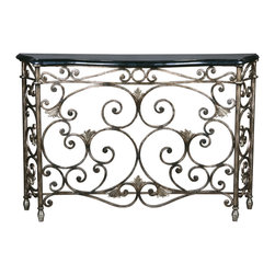 Ambella Home - Dickinson Console Table - Inspiration comes to those who look for it and this console is guaranteed to inspire your decor. Beautiful swirling ironwork, floral detailing and pewter finish will elevate your design aesthetic. The black fossil stone top is just the right place for a set of candles or floral arrangement.