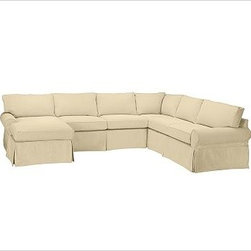 """PB Basic Right 4-Piece Chaise Sectional Slipcover, Brushed Canvas Honey - Designed exclusively for our PB Basic Sectional, these easy-care slipcovers have a casual drape, retain their smooth fit, and remove easily for cleaning. Select """"Living Room"""" in our {{link path='http://potterybarn.icovia.com/icovia.aspx' class='popup' width='900' height='700'}}Room Planner{{/link}} to select a configuration that's ideal for your space. This item can also be customized with your choice of over {{link path='pages/popups/fab_leather_popup.html' class='popup' width='720' height='800'}}80 custom fabrics and colors{{/link}}. For details and pricing on custom fabrics, please call us at 1.800.840.3658 or click Live Help. All slipcover fabrics are hand selected for softness, quality and durability. {{link path='pages/popups/sectionalsheet.html' class='popup' width='720' height='800'}}Left-arm or right-arm configuration{{/link}} is determined by the location of the arm on the love seat as you face the piece. This is a special-order item and ships directly from the manufacturer. To view our order and return policy, click on the Shipping Info tab above."""