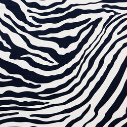 Zebra Linen Print Fabric, New Indigo-White - This exotic animal print is 100% linen and suitable for light upholstery, drapery, bedding, table-skirts, and other decorative uses.