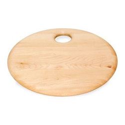 J K Adams Summit Collection Cutting Board - Bishop - The J K Adams Summit Collection Cutting Board – Bishop is a thinner board for quick and easy cutting, a great tool for making salads and light and healthy entrees. It features a contemporary circular design handcrafted from durable maple wood with a teak oil finish, with a rounded edge and convenient inset hanging hole.About J.K. Adams J.K. Adams has been designing, manufacturing, and distributing wood products from Dorset, Vermont, since 1944. Their philosophy can be summed up by the three short phrases painted on large signs hanging from the factory ceiling: Quality First. Production Next. Safety Always. Judging from the company's longevity and success, this business model works. Each J.K. Adams product begins with the finest Northeastern kiln-dried lumber. By combining functionality, aesthetics, and quality manufacturing techniques, the company creates exceptional wooden products that last a lifetime.