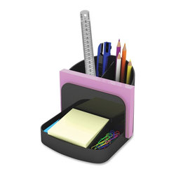 "deflect-o - Deflect-o Desk Caddy Organizer - Desktop, Shelf - 5"" H x 5.4"" W x 6.8"" D - Simple. Smart. Sturdy. This environmentally responsible, recycled plastic organizer keeps your writing tools and other essentials handy for use. Ideal for use on desk, shelf or work area, this desk caddy organizer features a designated space for 3 x 3 notes, a small compartment on either of the notes for paper clips, a slot of memo and cup for writing utensils, scissors and rulers. The half-moon cup features a divider for easy access for just the tool you need. Organizer is fully recyclable."