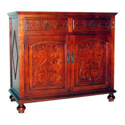 Wayborn - Wayborn Roman Cabinet in Honey Brown - Wayborn - Buffet Tables and Sideboards - 5638