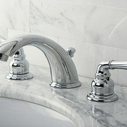 None - Stylish Chrome Widespread Bathroom Faucet - Spruce up the sink in your bathroom with this chrome widespread bathroom faucet. It features solid brass construction with a sleek polished chrome finish. This faucet comes with all of the hardware you need to install it without a fuss.