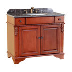 Bosconi - 39 in. Classic Single Vanity in Antique Red Finish - Includes sink overflow drain. Faucet and drain not included. Vanity with two drawers and a large two doors. 0.7 in. thick dark emperador marble countertop. White and under-mount ceramic basin sink. Three 8 in. standard faucet holes. Antique brass hardware. Made from birch solid wood frame, CARB PH2 certified MDF sides and panelling. Matching backsplash: 0.7 in. W x 3.1 in. H. Sink: 20 in. W x 15 in. D x 7.7 in. H. Overall: 39 in. W x 20 in. D x 33 in. H (165 lbs.)This Bosconi Classic model has ornate designs on the sides as well as beautifully crafted hardware. Combined with its finish, this is a great piece to add to any bathroom decor, and enjoy the added storage space. Countertop and matching backsplash will certainly enhance the Classic decor of any space.