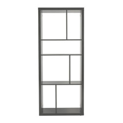 Any Which Way Shelving Unit in Gray - Both functional and a study in artful design, this geometric bookshelf will help you break out of the traditional mold in high style. In the bedroom or office, stand this shelving unit upright and use it as a bookshelf. Or lay it horizontally in the living room and use this piece as a stylish media console. This is one artistic piece that is both stylish and practical.