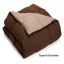 Bedding Web Store - Reversible Comforter-Down Alternative, Taupe/Chocolate, Full/Queen - Enjoy the comfort of this extremely soft down alternative comforter.  This comforter is 100% microfiber which makes if naturally hypoallergenic.  This is an all season comforter, it will not weight you down thus providing you will a comfortable and restful night of sleep.  It is available in for sizes and in the following colors: Plum/Lavender, Taupe/Chocolate, Black/Grey, Sage/Ivory, Chocolate/Sky Blue, and Taupe/Ivory.