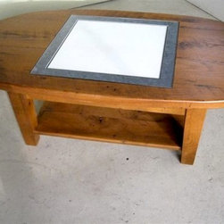 Oval Coffee Table With Game Board Inlay - Made by http://www.ecustomfinishes.com