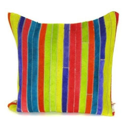 Design Accents Stripe Pillow - Multi - Bright, vibrant color and lush texture make the Design Accents Stripe Pillow - Multi ideal piece for those who like a little bold design in their lives. Made of leather and velvet, this contemporary pillow comes in a stylish pieced look. Available in various sizes, it's the perfect accent for your sofa, chair, or bed.