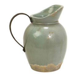 Rustic Blue Small Pitcher W/ Metal Handle - *A pale aqua rustic full bodied ceramic pitcher has a natural quality like a handmade collectible piece from ancient civilizations.