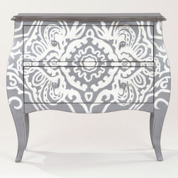 Large Sasha Hall Chest - I love painted furniture. The gray and white in this piece are perfect together. I love the pattern and how it wraps around the whole front of the piece. It would be so pretty in a dining room or entryway.