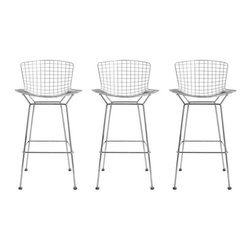 Used Chrome Bertoia Bar Stools - Set of 3 - These wonderful bar stools are brand spankin' new. Knoll classics, they were mistakenly ordered, and the buyer is now selling them at the designer price. List price is $1410 each, but all 3 are being offered for $2838. The perfect mid-century update to your breakfast bar.    Seat height: 29.5""