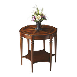 Butler Specialty - Butler Accent Table - This elegant table blends classic Old World styling with today's casual sophistication. Crafted from hardwood solids, wood products and choice veneers, it is distinguished by a top starburst inlay pattern of maple and walnut veneers encompassed by an olive ash burl veneer border. Features beautifully carved fluted legs with a lower display shelf.