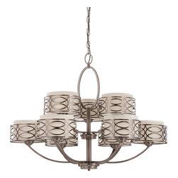 Nuvo Lighting - Harlow Nine Light Chandelier With Khaki Fabric Shades In Hazel Bronze Finish - Harlow - 9 Light Chandelier w/ Khaki Fabric Shades