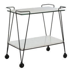 "Arteriors - Myrtle Bar Cart - Inspired by a flea market purchase, the clean modern lines of this design in combination with the blackened iron, antiqued mirror, white marble, and industrial wheels makes this the perfect vintage ""find"" that no one will know is new. Use as the bar it was intended to be, or think outside the box and use in the bathroom to hold towels and bath salts. Marble may vary."