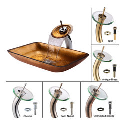 Kraus - Kraus Golden Pearl Rectangular Glass Vessel Sink and Waterfall Faucet Satin Nick - *Add a touch of elegance to your bathroom with a glass sink combo from Kraus