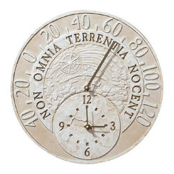 """Weathered Limestone Fossil Celestial Thermometer Clock - Whimsical Weathered Limestone Fossil Celestial Thermometer Clock is nostalgic and functional.  This unique decorative piece is functional with two displays -- one for the degrees in Farenheight, the other to tell time.  Celestial refers to the skies and heaven.  Clever caption Non Omnia Terrentia Nocent means: """"Art depicting earth and sky"""". An appropriate phrase for this antiquated style replica."""
