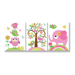 Stupell Industries - Owls, Elephants and Birds Trio - Treat your home to some style with one this decorative wooden wall plaques.    It is produced on sturdy half-inch thick MDF wood, and comes with a saw tooth hanger on the back for instant use.  The sides are hand finished and painted so a perfect crisp look.  MADE IN USA.