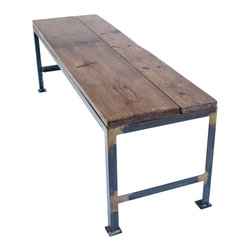 """Handcrafted - Appalachian Dining Bench - This dining bench is made of 100+ year old salvaged wood from a barn in the foothills of the Appalachian Mountains. Measuring 54"""" x 16"""" x 18""""H, the bench fits perfectly beneath our 60"""" dining table (sold separately). The frame was welded in our shop of 1.25"""" angle iron. A rust patina was applied to the welded joints and then finished with a clear coat. The barn wood was stained and then coated in a matte polyurethane."""