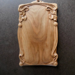 """"""" Cherry Nouveau"""" hand carved cuttting board//wall art/kitchen decoration - A hand carved kitchen cutting board/wall art/kitchen decoration designed and completely hand carved by Michael McConnell. The size is 6 and 1/2 inches wide by 11 inches long by 3/4 inches thick."""