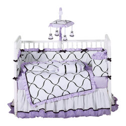 Sweet Jojo Designs - Princess Black, White and Purple 9-Piece Baby Crib Bedding Set by Sweet Jojo Des - The  baby bedding by Sweet Jojo Designs includes: comforter, bumper, dust ruffle, fitted sheet, toy bag, pillow, diaper stacker and 2 window valances.