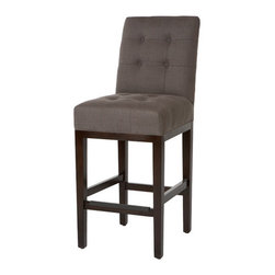 Troy Bar Stool - For the modern elegance lovers, this gray, tufted stool is simply ideal.