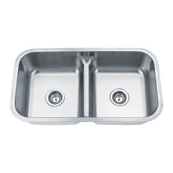 "Dowell - Dowell 32"" x 18"" Undermount Lower Bowl Divider Double Bowl Sink - 16 Gauge, 304 Series Stainless Steel"