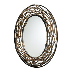 Cyan Design - Cyan Design Rustico Twist Oval Mirror X-24520 - This Cyan Design oval mirror from the Rustico Collection is a stunning blend of contemporary and natural design elements. The oval shape has been created with twisted layers of birchwood branches, molded to perfectly fit within the wide set Bronze finished frame.