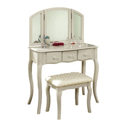 Adarn Inc. - Tri-Folding Mirror 3PC Wood Make Up Table Padded Bench Drawers Vanity Set, White - This vanity set features tri-folding mirror and 3 drawers make up table. Perfect for placing your brushing items. Add elegance to your bedroom. Finished in white / cherry and constructed of wood with great quality.