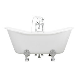 "The Tub Studio - Giulio 67"" Acrylic White Double Slipper Clawfoot Tub Package w/ Medici Feet - Product Details"