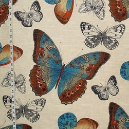 "Butterfly Fabric Toile Peacock Blue and Orange - Summer - A butterfly fabric. A butterfly toile fabric in summer colors of peacock blue and orange. For those that love butterflies! This has a very large scale and colors have a ""WOW"" factor!"