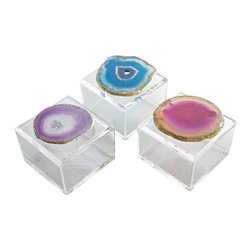 Times Two Design - Times Two Design Acrylic Box with Agate - The acrylic box with agate from Times Two Design makes a great gift or the perfect accessory for your coffee table. This sassy little box is available in different agate colors.Times Two Design products are made with natural stones. Variations in the stone colors and sizes should be expected and are not considered defects. Please call for details.