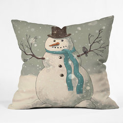 DENY Designs - DENY Designs Terry Fan Snowman Throw Pillow - Wanna transform a serious room into a fun, inviting space? Looking to complete a room full of solids with a unique print? Need to add a pop of color to your dull, lackluster space? Accomplish all of the above with one simple, yet powerful home accessory we like to call the DENY Throw Pillow! Available in four sizes, our throw pillow is made from a medium weight woven polyester with a hidden zipper and removable bun insert.