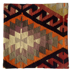 Original - Dramatic kilim pillow cover 20X20 - Imported from Istanbul, this fantastic and bold pillow cover is designed with geometric shapes and tribal designs.