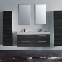 """Alnoite Bathroom Vanity - 54"""" wall mounted bathroom vanity featuring 4 drawers for maximum storage. Constructed with high quality veneers, and soft close hardware. Vanity includes double sink basin, and 2 pop-up drains. Available in 2-Tone Grey Oak Drawers, Gloss White Vanity"""