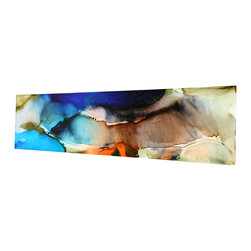 Handpainted and sold direct from Artist Jon Allen - Abstract Painting In Blue & Earthtones on Metal - Only In Dreams by Jon Allen - Abstract Painting in Blue & Earthtones on Metal - Only in Dreams by Jon Allen