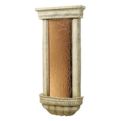 """Bluworld Innovations, LLC - Bellezza Wall Fountain 45""""H x 20.75""""W Ancient Stone with Bronze Mirror - Smooth bronze mirror and weathered ancient stone frame wall mounted feature. Offering more than just the soothing sounds of flowing water; it humidifies and cleanses the air for a healthier living environment. Its classic, delicate styling suits any decor, while underwater lighting adds a particularly captivating touch. Lightweight and durable, the Bellezza can be easily installed both indoors and out."""