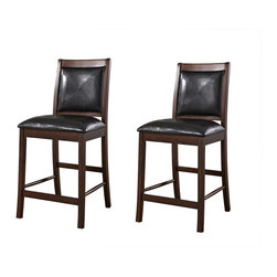 American Heritage - American Heritage Devera Counter Height Dining Chair [Set of 2] - Counter Height Dining Chair belongs to Devera Collection by American Heritage The Devera Counter Height Chairs - Set of 2,  is an utterly exquisite set featuring traditional lines and soft padding on its seat and back. The two-tone finish and dark, vinyl cushions blend beautifully for a look befitting a casual or formal setting. This comfortable, counter-height stool set has sturdy hardwood construction across the frame and durable vinyl on both its seat and back that easily wipes clean. Wood finish in a suede wood color. Measures 17.5W x 20D x 41H inches. Some assembly is required.  Counter Height Dining Chair (2)