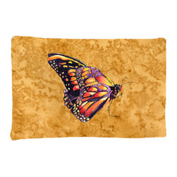 Caroline's Treasures - Butterfly on Gold Fabric Standard Pillowcase Moisture Wicking Material - Standard White on back with artwork on the front of the pillowcase, 20.5 in w x 30 in. Nice jersy knit Moisture wicking material that wicks the moisture away from the head like a sports fabric (similar to Nike or Under Armour), breathable performance fabric makes for a nice sleeping experience and shows quality. Wash cold and dry medium. Fabric even gets softer as you wash it. No ironing required.