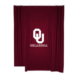Sports Coverage - Oklahoma Sooners Shower Curtain - This 72 x 72 officially licensed Oklahoma University Sooners shower curtain of jersey material with logo is perfect for any bathroom in need of a little extra team spirit. It weighs approximately one pound and is screen printed with Plastisol. Shower Curtain is 100% Polyester Jersey