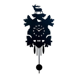 """Black Stag Silhouette Pendulum Clock - Black Stag Silhouette Pendulum Clock features black clock with white clock face numbers. Deer silhouette on top and pendulum on bottom. 12"""" x 26""""  Requires one AA battery."""