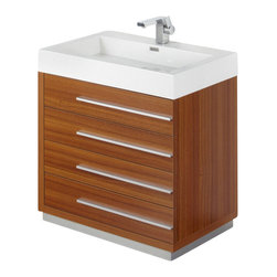 "Fresca - 30 Inch Teak Modern Bathroom Vanity - The Livello 30"" vanity features four pull out drawers that come equipped with slow closing hinges.  Its sink is made with a durable acrylic material that is less likely to break then tradition ceramic, it also cleans better.  This vanity's minimal design will make your bathroom feel like a modern oasis.  Many faucet styles to choose from.  Optional side cabinets are available. Dimensions: 29.38""W X 18.75""D X 33.5""H (Tolerance: +/- 1/2""); Counter Top: White Acrylic Countertop/Sink with Overflow; Finish: Teak; Features: 4 Drawers, Soft Closing; Hardware: Chrome; Sink(s): 25.5""x12.5""x4"" White Acrylic Sink with Overflow; Faucet: Pre-Drilled for Standard Single Hole Faucet (Included); Assembly: Light Assembly Required; Countertop, Sink, Cabinet Not Attached; Large cut out in back for plumbing; Included: Cabinet, Sink, Choice of Faucet with Drain, Medicine Cabinet (29.5""W x 26""H x 5""D); Not Included: Backsplash"